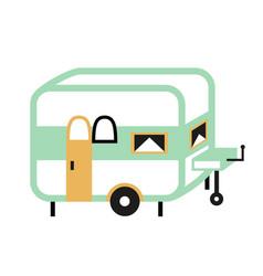 Camping trailer flat vector