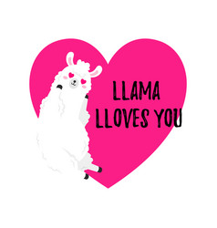 cartoon card sweet llama doodle vector image