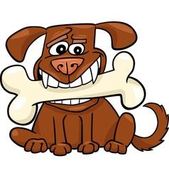Cartoon Dog with big bone vector image