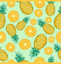 Cartoon fresh pineapple fruits in flat style vector