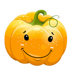 cartoon fun toothy smile pumpkin character vector image