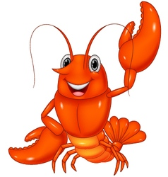 Cartoon lobster waving on white background vector