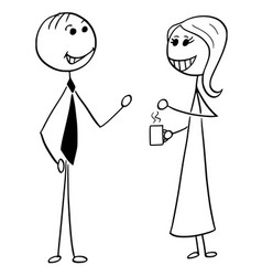 Cartoon of man and woman business people talking vector
