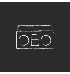 Cassette player icon drawn in chalk vector