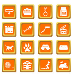 Cat care tools icons set orange vector