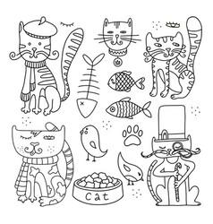 cats line doodle set 2 vector image