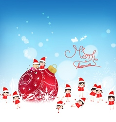 Christmas background with red bauble kids snow and vector