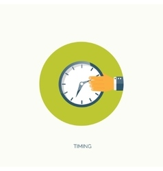 Clock flat icon World time vector
