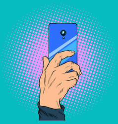close-up smartphone in hand takes a photo vector image