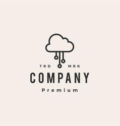 cloud tech hipster vintage logo icon vector image