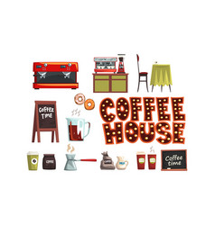 coffee house set cafe interior elements and vector image