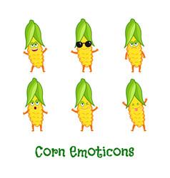corn smiles cute cartoon emoticons emoji icons vector image