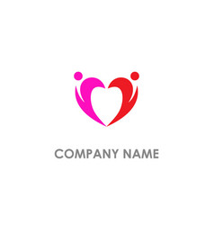 couple love heart valentine logo vector image