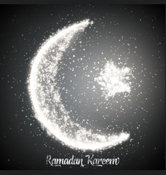 crescent moon and star constructed vector image