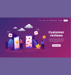 Customers feedback trendy concept with cartoon vector