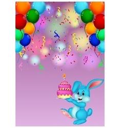 Cute rabbit holding birthday cake vector