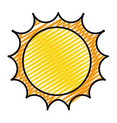 Doodle cute light sun ray weather vector