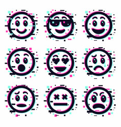 emoticon glitch set smile face icon collection vector image