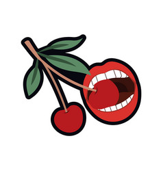 Female mouth with cherry isolated icon vector
