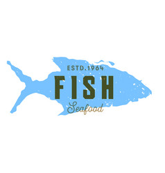 Fish silhouettede sign emblem seafood vector