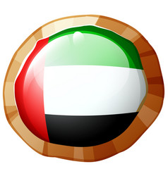 flag of arab emirates on round badge vector image