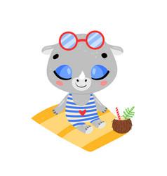 Flat doodle cute cartoon summer rhino sunbathing vector
