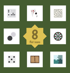 Flat icon games set of dice arrow gomoku and vector