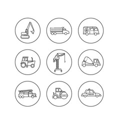 Flat outline icons of construction special vector
