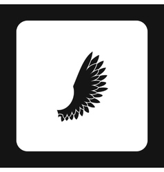 Fluffy birds wing with feathers icon simple style vector