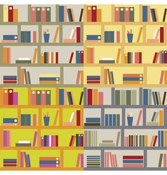 Four seamless bookshelf vector