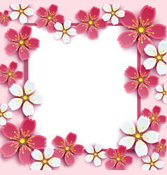 frame with pink white 3d sakura vector image