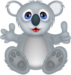 funny koala cartoon with thumb up vector image