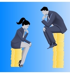 Gender inequality on payment business concept vector image