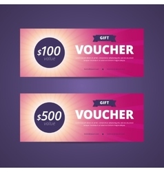 Gift vouchers with 100 and 500 dollars value vector