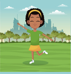 Girl sport active park city background vector