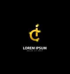 Gold letter i logo ic letter design with golden vector