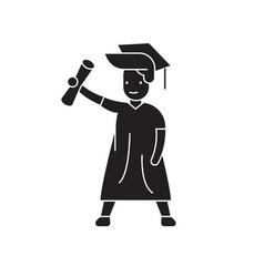 graduate student black concept icon vector image