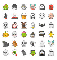 Halloween character filled outline icon set vector