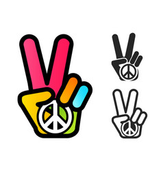 hand and peace symbol vector image