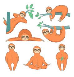hand drawn sloths set vector image