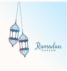 Hanging islamic style lantern for ramadan kareem vector