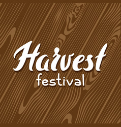 Harvest festival background with wood board vector