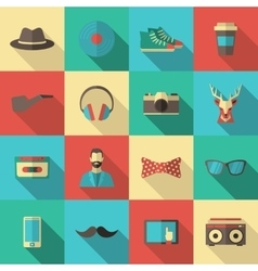 Hipster Flat Icon Set vector image