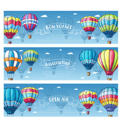 hot air balloon in sky sketch banner set vector image