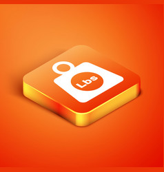 Isometric weight pounds icon isolated on orange vector