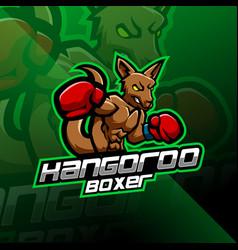 Kangoroo boxing esport mascot logo design vector
