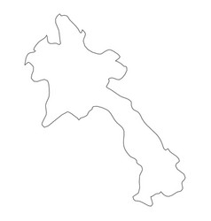 laos - solid black outline border map of country vector image