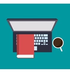 Laptop cup and book design vector image