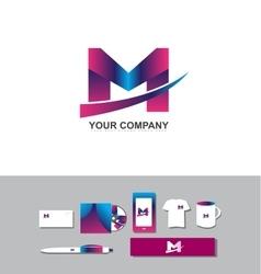 Letter M purple logo vector