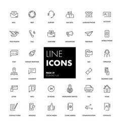 Line icons set contact us vector
